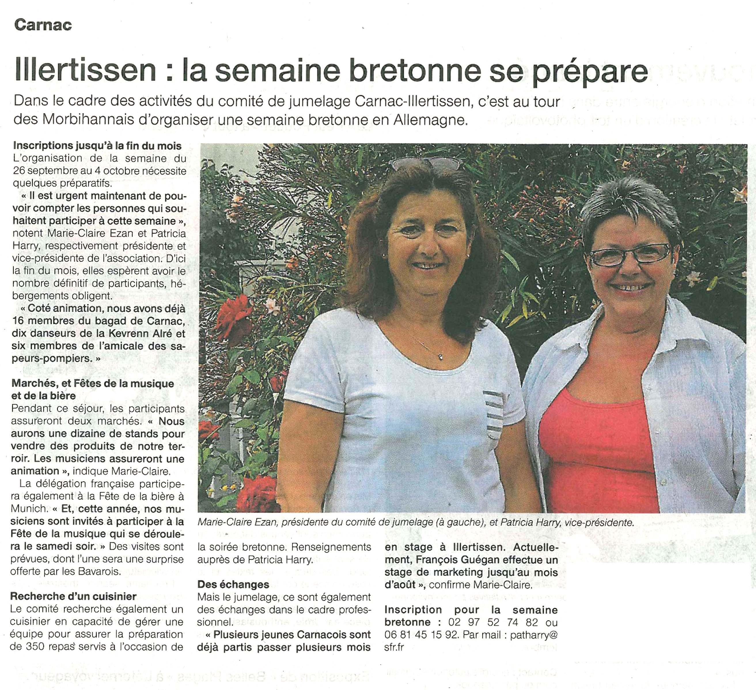 Article de Ouest-France du 21 juillet 2016